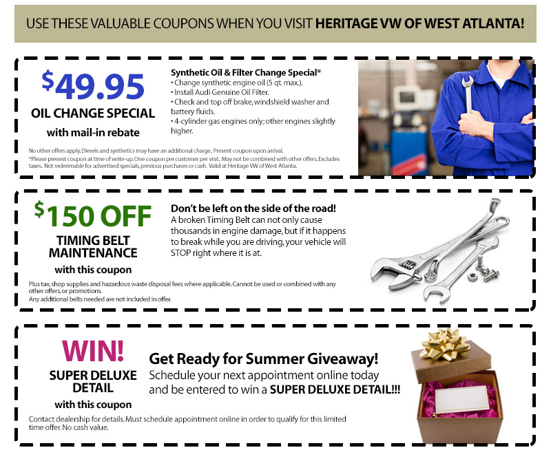 Valuable coupons for Heritage Volkswagen of West Atlanta